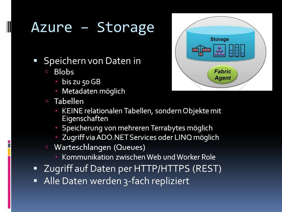 Azure – Storage Speichern von Daten in Blobs bis zu 50 GB Metadaten möglich Tabellen KEINE relationalen Tabellen, sondern Objekte mit Eigenschaften Sp