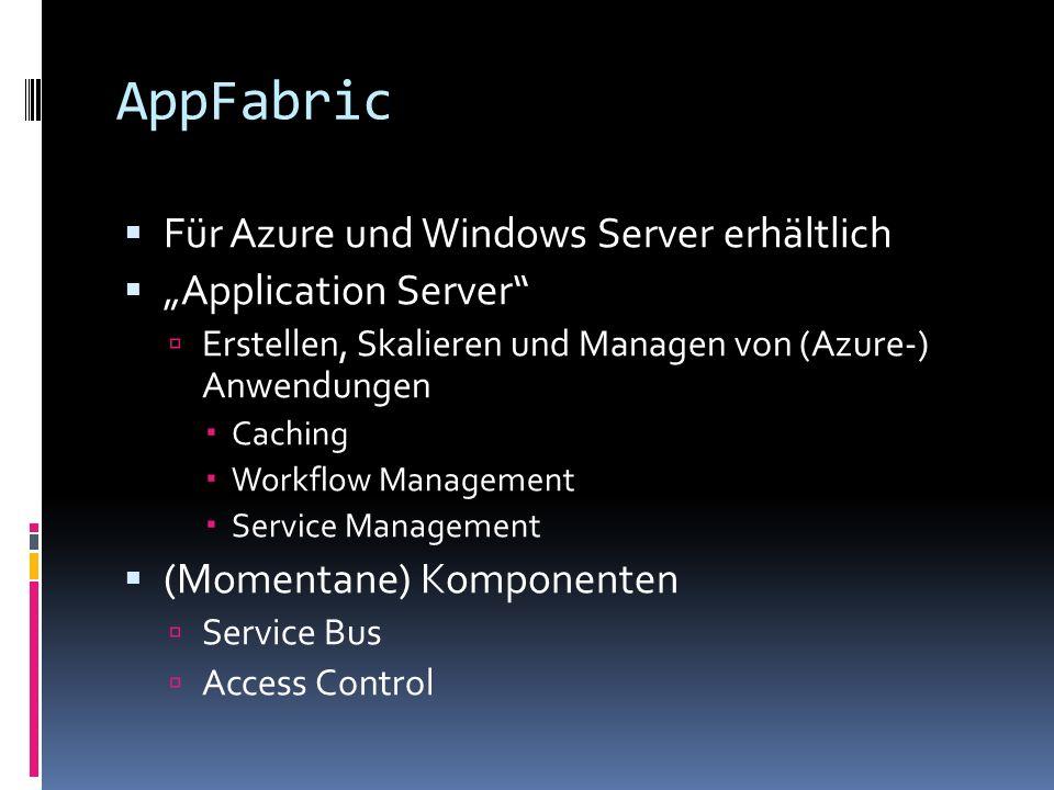 AppFabric Für Azure und Windows Server erhältlich Application Server Erstellen, Skalieren und Managen von (Azure-) Anwendungen Caching Workflow Manage