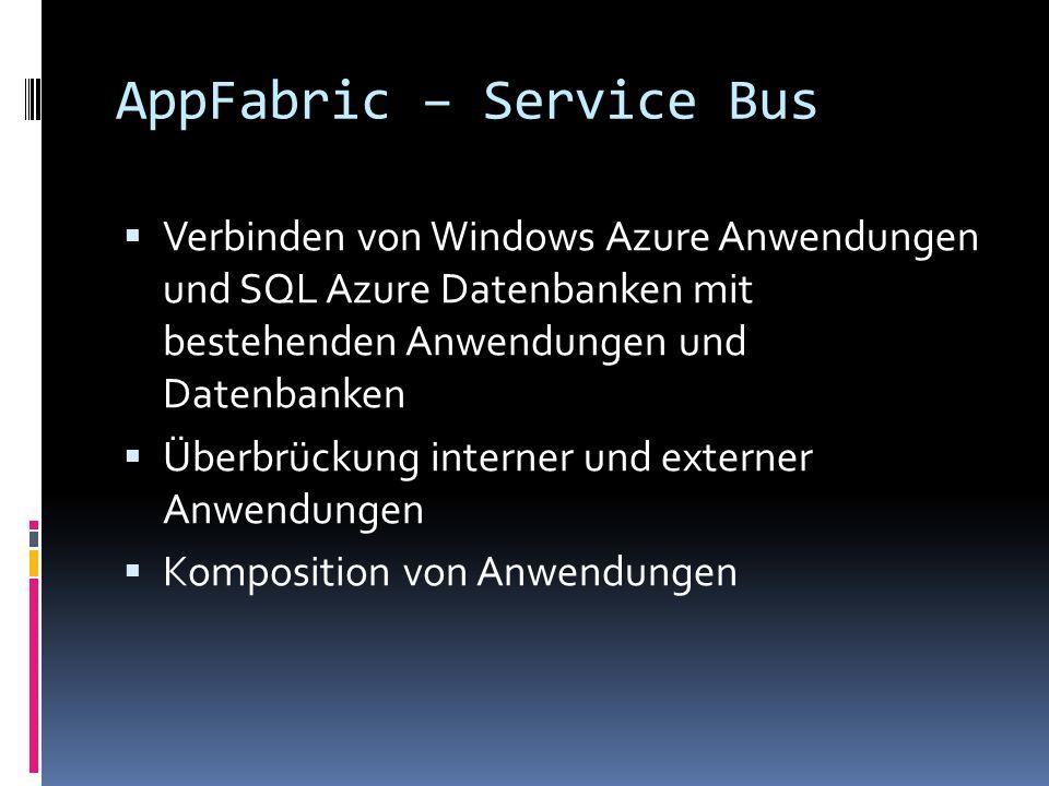 AppFabric – Service Bus Verbinden von Windows Azure Anwendungen und SQL Azure Datenbanken mit bestehenden Anwendungen und Datenbanken Überbrückung int