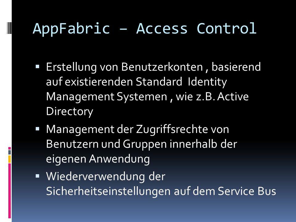 AppFabric – Access Control Erstellung von Benutzerkonten, basierend auf existierenden Standard Identity Management Systemen, wie z.B. Active Directory