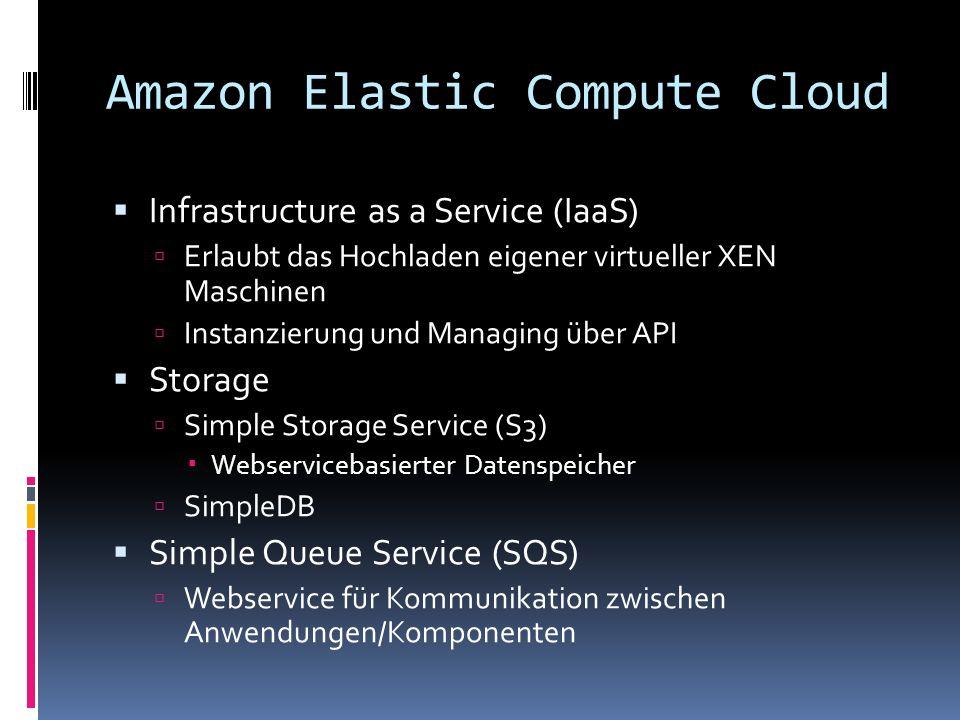 Amazon Elastic Compute Cloud Infrastructure as a Service (IaaS) Erlaubt das Hochladen eigener virtueller XEN Maschinen Instanzierung und Managing über