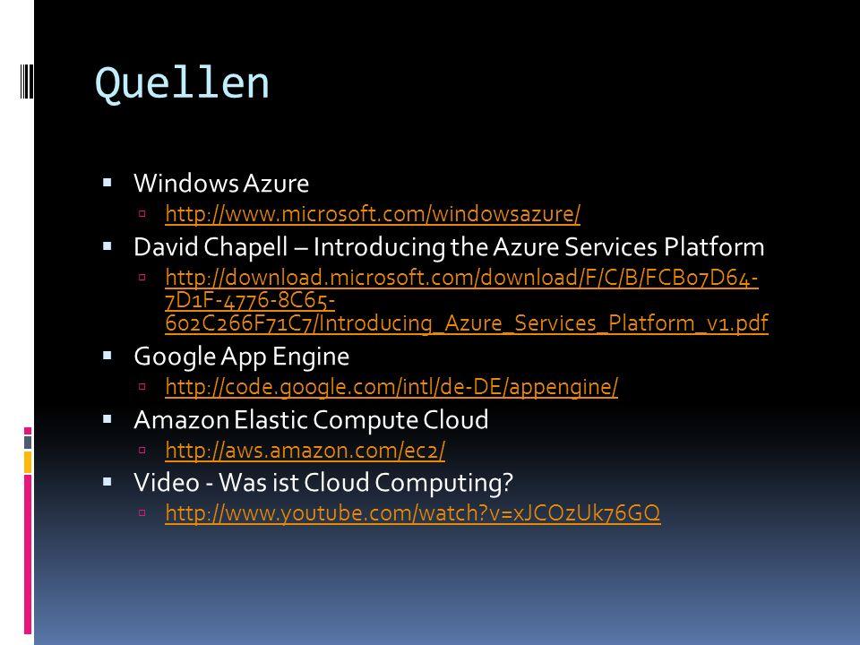 Quellen Windows Azure http://www.microsoft.com/windowsazure/ David Chapell – Introducing the Azure Services Platform http://download.microsoft.com/dow