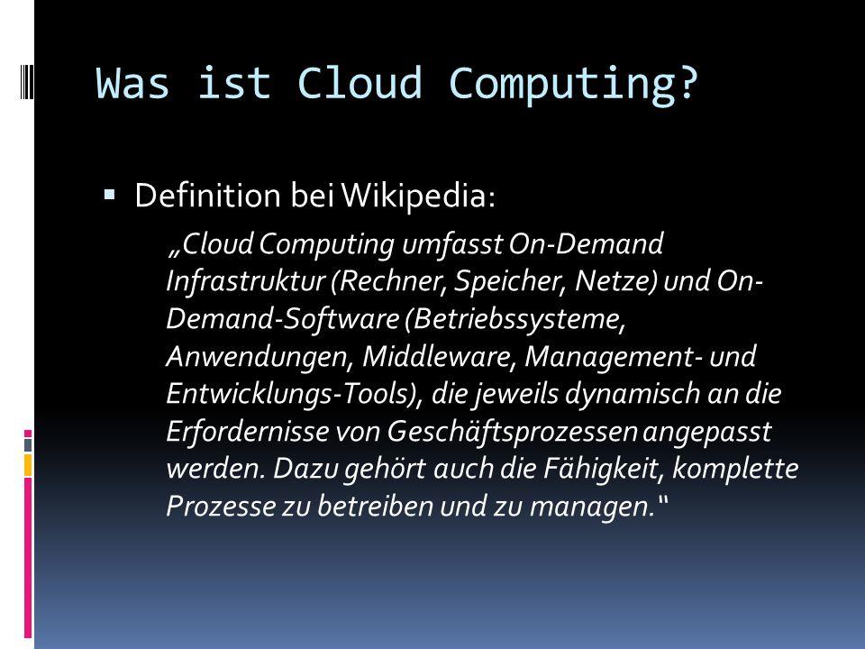 Amazon Elastic Compute Cloud Infrastructure as a Service (IaaS) Erlaubt das Hochladen eigener virtueller XEN Maschinen Instanzierung und Managing über API Storage Simple Storage Service (S3) Webservicebasierter Datenspeicher SimpleDB Simple Queue Service (SQS) Webservice für Kommunikation zwischen Anwendungen/Komponenten