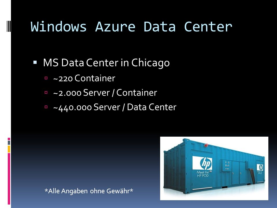 Windows Azure Data Center MS Data Center in Chicago ~220 Container ~2.000 Server / Container ~440.000 Server / Data Center *Alle Angaben ohne Gewähr*