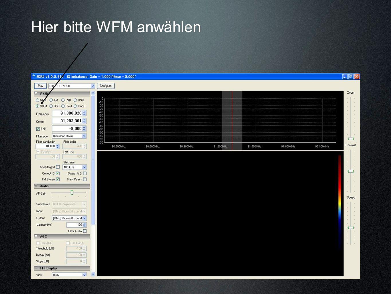 Hier bitte WFM anwählen