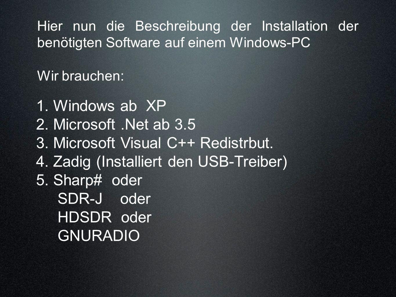Hier nun die Beschreibung der Installation der benötigten Software auf einem Windows-PC Wir brauchen: 1. Windows ab XP 2. Microsoft.Net ab 3.5 3. Micr