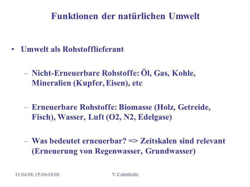 11/04/08, 15:00-19:00V. Calenbuhr Funktionen der natürlichen Umwelt Umwelt als Rohstofflieferant –Nicht-Erneuerbare Rohstoffe: Öl, Gas, Kohle, Mineral