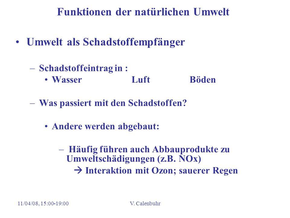 11/04/08, 15:00-19:00V. Calenbuhr Funktionen der natürlichen Umwelt Umwelt als Schadstoffempfänger –Schadstoffeintrag in : WasserLuftBöden –Was passie