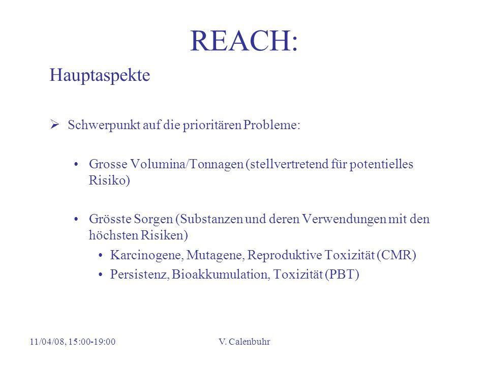 11/04/08, 15:00-19:00V. Calenbuhr REACH: Hauptaspekte Schwerpunkt auf die prioritären Probleme: Grosse Volumina/Tonnagen (stellvertretend für potentie