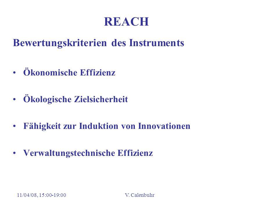 11/04/08, 15:00-19:00V. Calenbuhr REACH Bewertungskriterien des Instruments Ökonomische Effizienz Ökologische Zielsicherheit Fähigkeit zur Induktion v