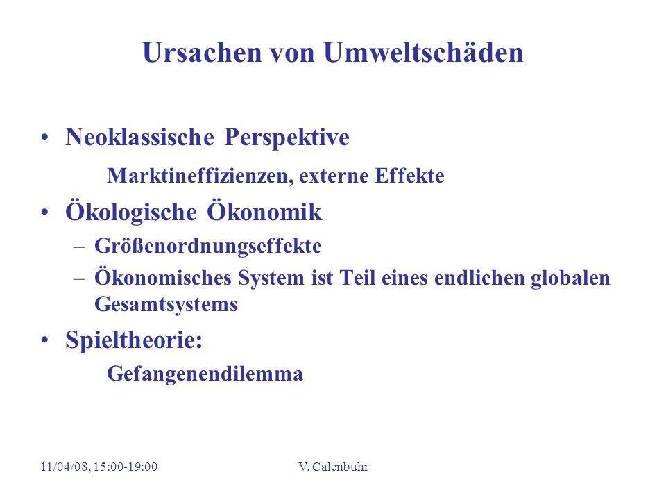 11/04/08, 15:00-19:00V. Calenbuhr Ursachen von Umweltschäden Neoklassische Perspektive Marktineffizienzen, externe Effekte Ökologische Ökonomik –Größe