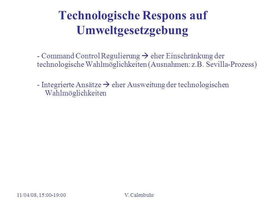 11/04/08, 15:00-19:00V. Calenbuhr Technologische Respons auf Umweltgesetzgebung - Command Control Regulierung eher Einschränkung der technologische Wa