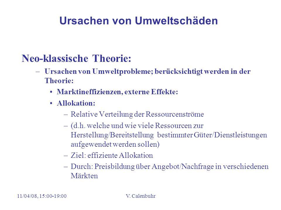 11/04/08, 15:00-19:00V. Calenbuhr Neo-klassische Theorie: –Ursachen von Umweltprobleme; berücksichtigt werden in der Theorie: Marktineffizienzen, exte