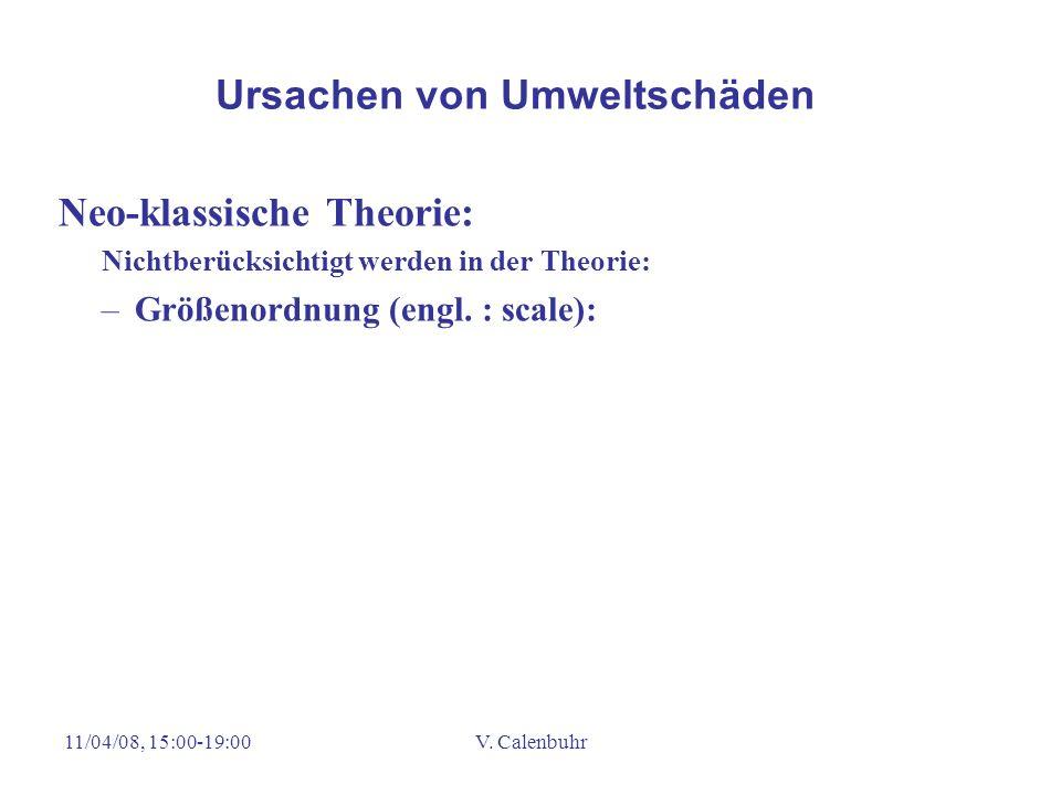 11/04/08, 15:00-19:00V. Calenbuhr Neo-klassische Theorie: Nichtberücksichtigt werden in der Theorie: –Größenordnung (engl. : scale): Ursachen von Umwe