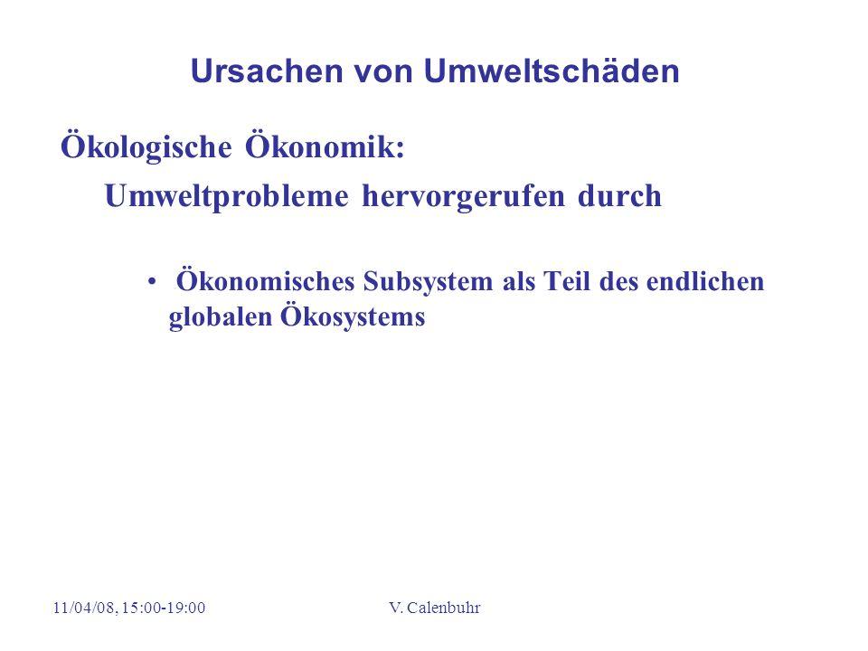 11/04/08, 15:00-19:00V. Calenbuhr Ökologische Ökonomik: Umweltprobleme hervorgerufen durch Ökonomisches Subsystem als Teil des endlichen globalen Ökos
