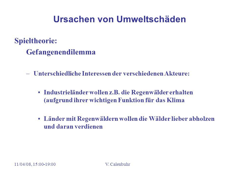 11/04/08, 15:00-19:00V. Calenbuhr Spieltheorie: Gefangenendilemma –Unterschiedliche Interessen der verschiedenen Akteure: Industrieländer wollen z.B.