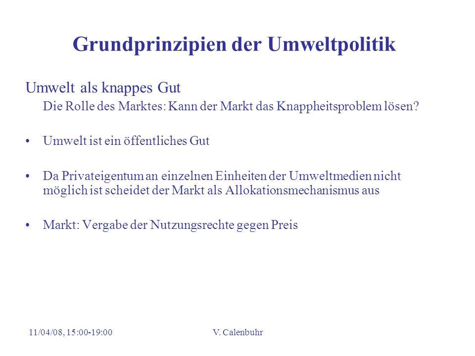 11/04/08, 15:00-19:00V. Calenbuhr Grundprinzipien der Umweltpolitik Umwelt als knappes Gut Die Rolle des Marktes: Kann der Markt das Knappheitsproblem