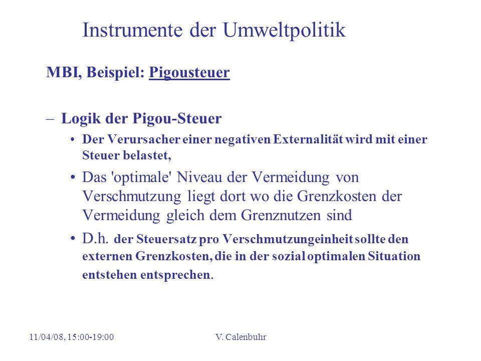 11/04/08, 15:00-19:00V. Calenbuhr Instrumente der Umweltpolitik MBI, Beispiel: Pigousteuer –Logik der Pigou-Steuer Der Verursacher einer negativen Ext