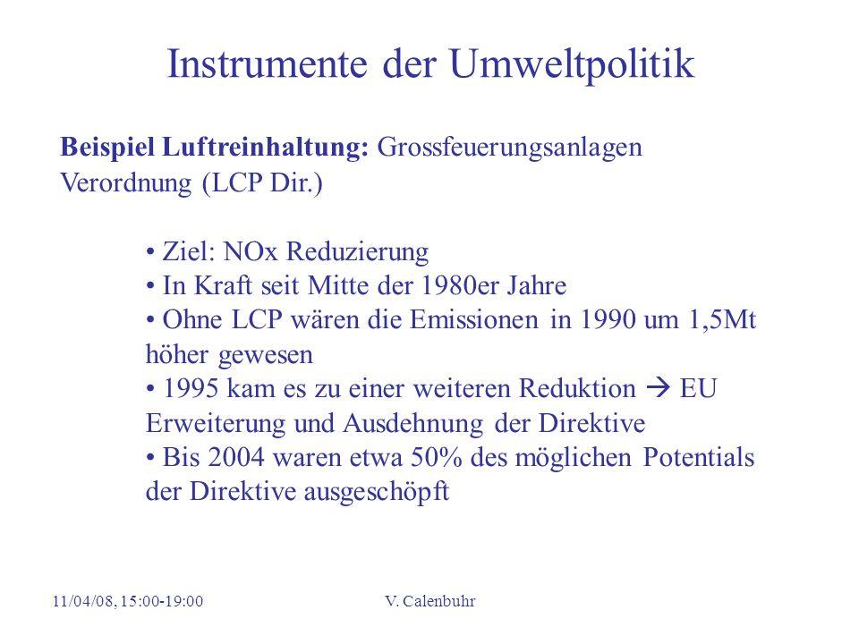 11/04/08, 15:00-19:00V. Calenbuhr Instrumente der Umweltpolitik Beispiel Luftreinhaltung: Grossfeuerungsanlagen Verordnung (LCP Dir.) Ziel: NOx Reduzi