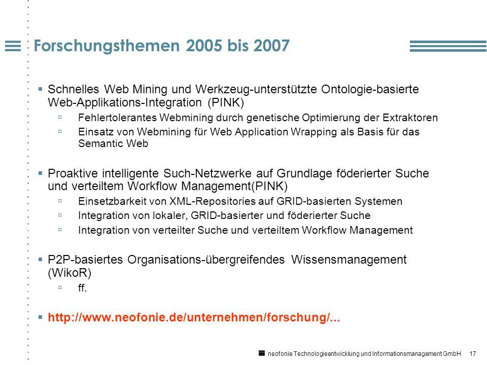 17 neofonie Technologieentwicklung und Informationsmanagement GmbH Forschungsthemen 2005 bis 2007 Schnelles Web Mining und Werkzeug-unterstützte Ontologie-basierte Web-Applikations-Integration (PINK) Fehlertolerantes Webmining durch genetische Optimierung der Extraktoren Einsatz von Webmining für Web Application Wrapping als Basis für das Semantic Web Proaktive intelligente Such-Netzwerke auf Grundlage föderierter Suche und verteiltem Workflow Management(PINK) Einsetzbarkeit von XML-Repositories auf GRID-basierten Systemen Integration von lokaler, GRID-basierter und föderierter Suche Integration von verteilter Suche und verteiltem Workflow Management P2P-basiertes Organisations-übergreifendes Wissensmanagement (WikoR) ff.