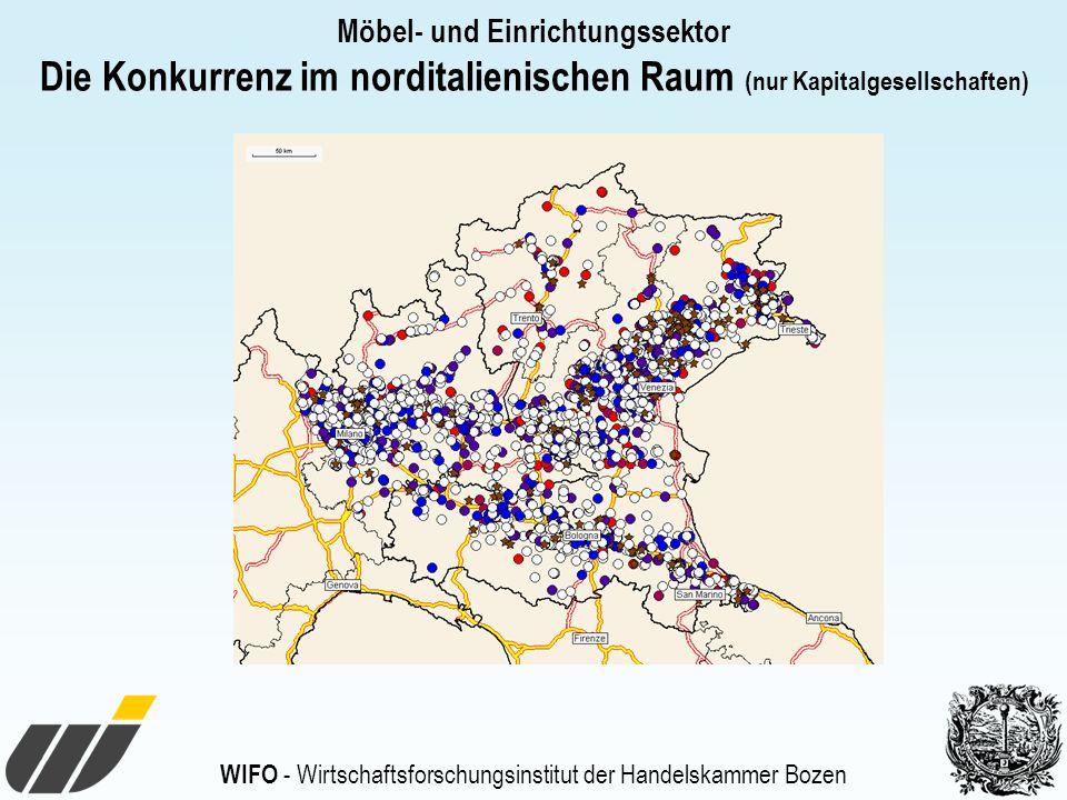 WIFO - Wirtschaftsforschungsinstitut der Handelskammer Bozen Möbel- und Einrichtungssektor Die Konkurrenz im norditalienischen Raum (nur Kapitalgesellschaften)