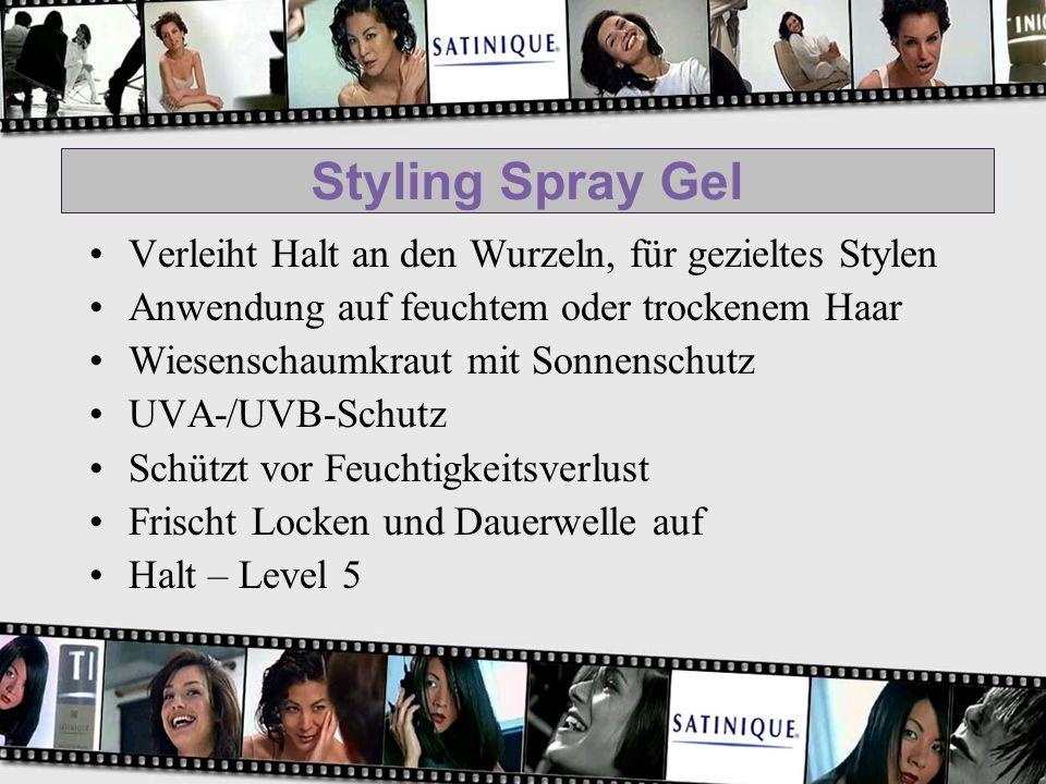 Styling Spray Gel Verleiht Halt an den Wurzeln, für gezieltes Stylen Anwendung auf feuchtem oder trockenem Haar Wiesenschaumkraut mit Sonnenschutz UVA