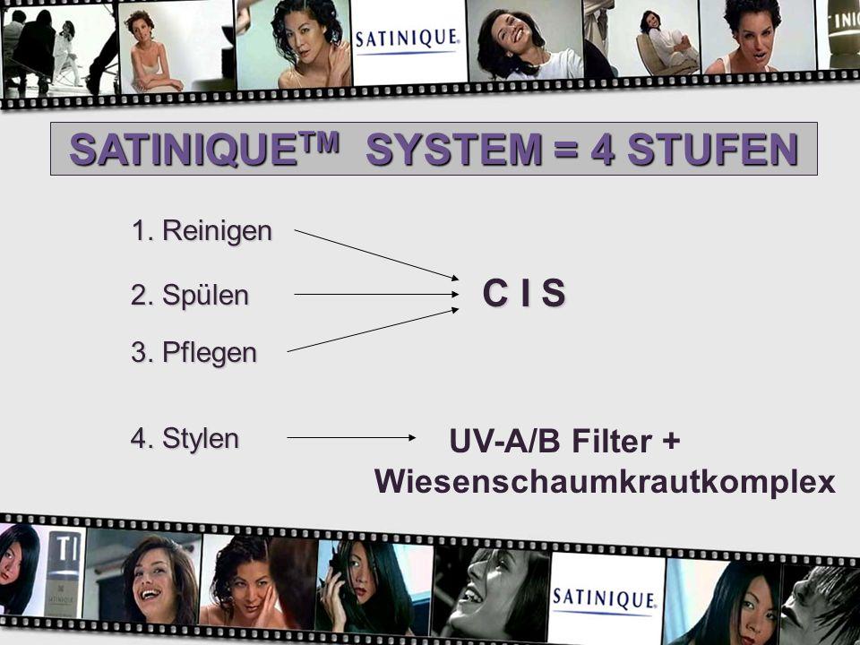 SATINIQUE TM SYSTEM = 4 STUFEN 1. Reinigen 2. Spülen 3. Pflegen 4. Stylen C I S UV-A/B Filter + Wiesenschaumkrautkomplex