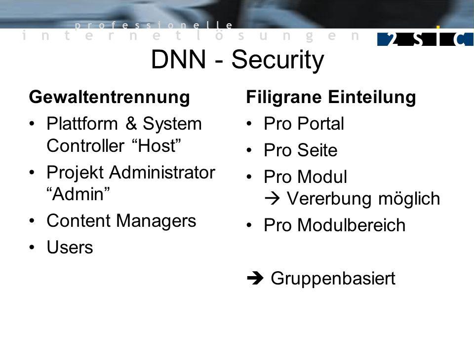 DNN - Security Gewaltentrennung Plattform & System Controller Host Projekt Administrator Admin Content Managers Users Filigrane Einteilung Pro Portal Pro Seite Pro Modul Vererbung möglich Pro Modulbereich Gruppenbasiert
