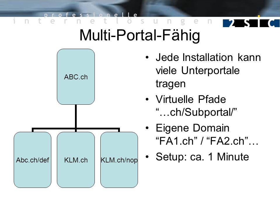 Multi-Portal-Fähig Jede Installation kann viele Unterportale tragen Virtuelle Pfade …ch/Subportal/ Eigene Domain FA1.ch / FA2.ch… Setup: ca. 1 Minute