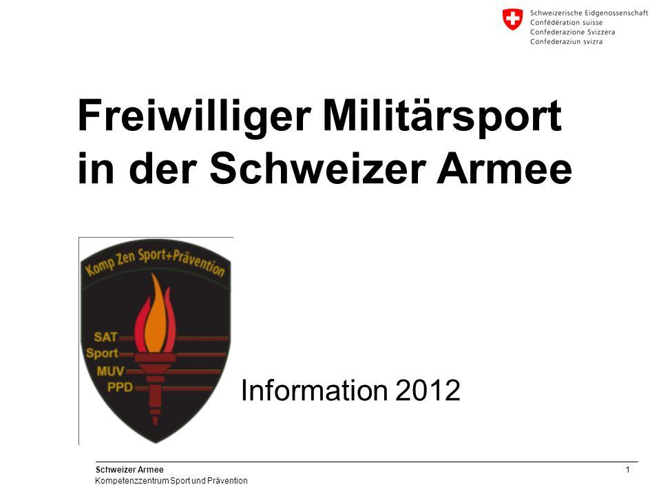 2 Schweizer Armee Kompetenzzentrum Sport und Prävention Vortrag freiwilliger Militärsport Einführung Zielsetzungen Allgemeiner Überblick über die freiwilligen Sportmöglichkeiten Programm 2012 Diverses/Fragen