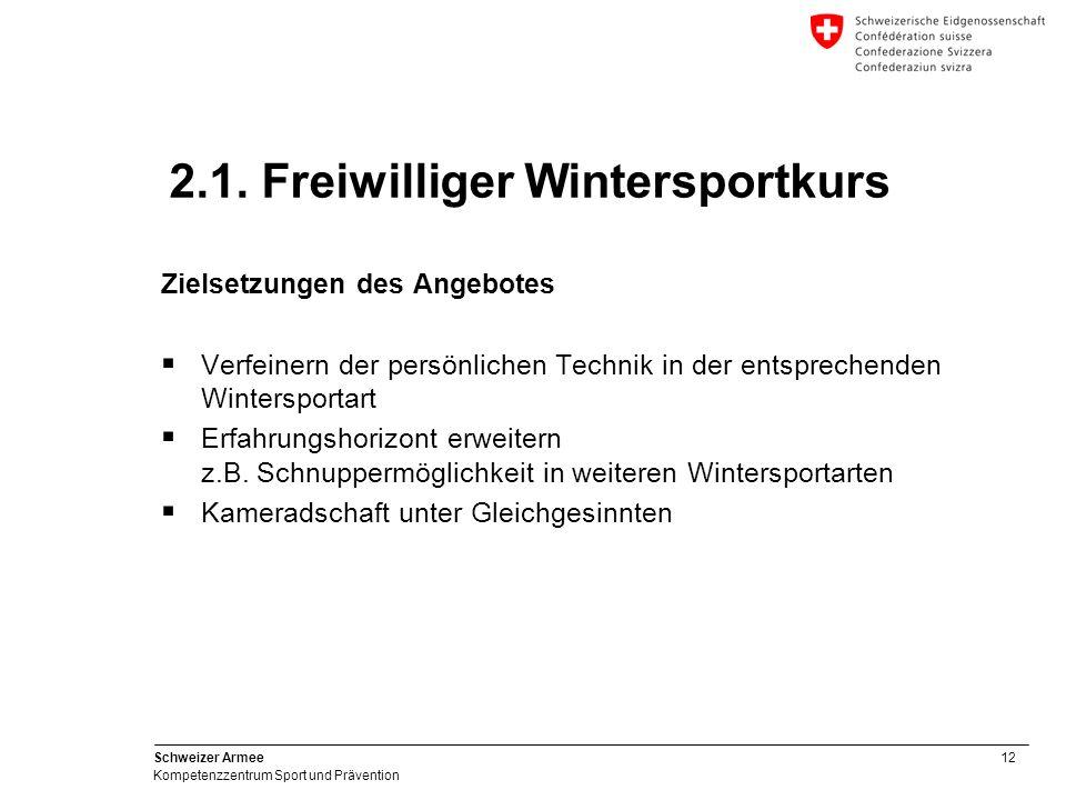 12 Schweizer Armee Kompetenzzentrum Sport und Prävention Zielsetzungen des Angebotes Verfeinern der persönlichen Technik in der entsprechenden Winters