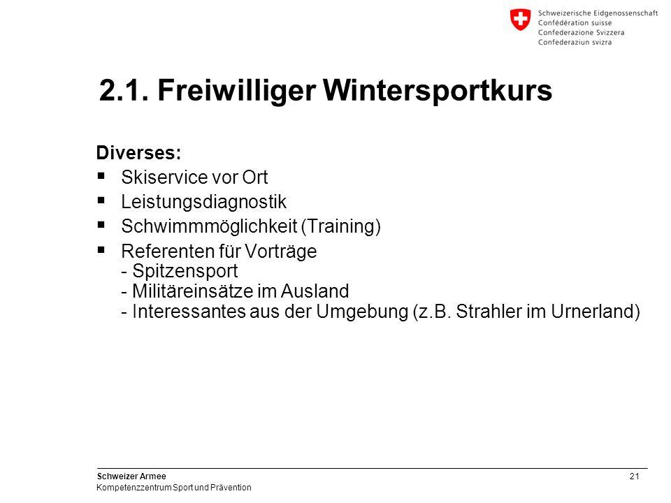 21 Schweizer Armee Kompetenzzentrum Sport und Prävention Diverses: Skiservice vor Ort Leistungsdiagnostik Schwimmmöglichkeit (Training) Referenten für
