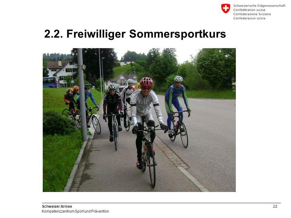 22 Schweizer Armee Kompetenzzentrum Sport und Prävention 2.2. Freiwilliger Sommersportkurs