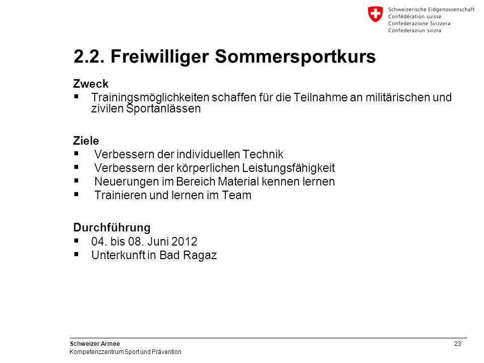 23 Schweizer Armee Kompetenzzentrum Sport und Prävention 2.2. Freiwilliger Sommersportkurs Zweck Trainingsmöglichkeiten schaffen für die Teilnahme an