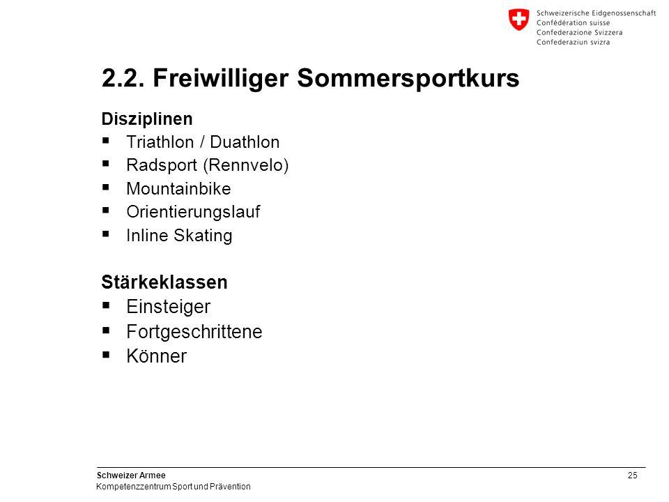 25 Schweizer Armee Kompetenzzentrum Sport und Prävention 2.2. Freiwilliger Sommersportkurs Disziplinen Triathlon / Duathlon Radsport (Rennvelo) Mounta
