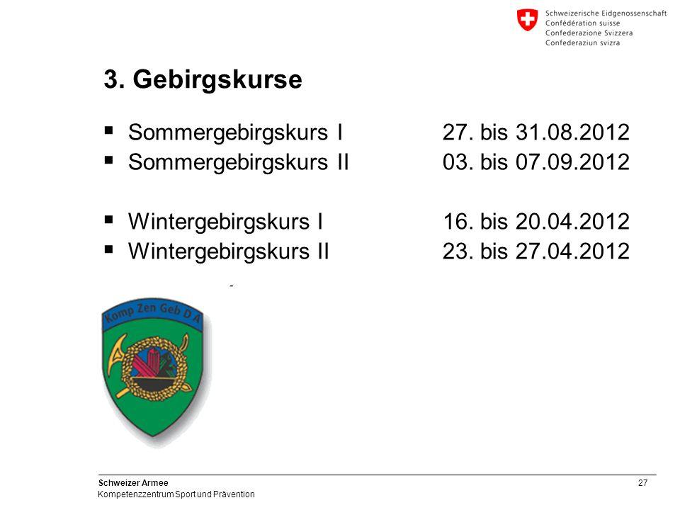 27 Schweizer Armee Kompetenzzentrum Sport und Prävention 3. Gebirgskurse Sommergebirgskurs I27. bis 31.08.2012 Sommergebirgskurs II03. bis 07.09.2012