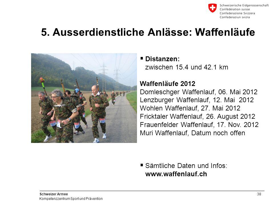 38 Schweizer Armee Kompetenzzentrum Sport und Prävention 5. Ausserdienstliche Anlässe: Waffenläufe Distanzen: zwischen 15.4 und 42.1 km Waffenläufe 20