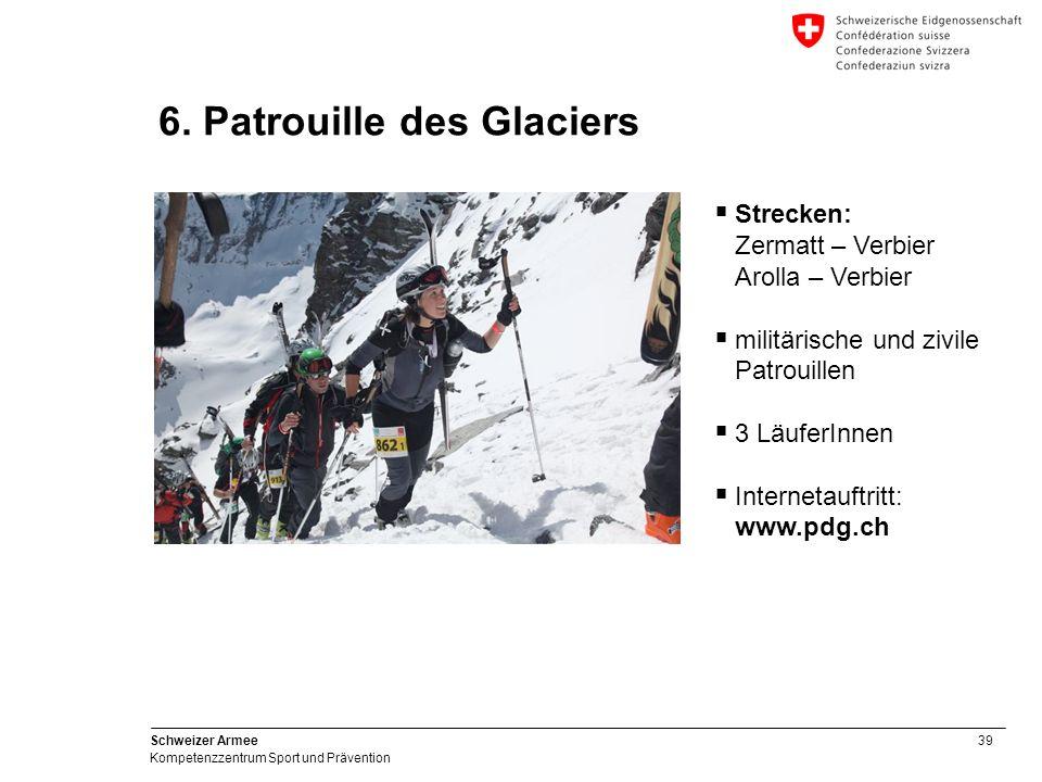 39 Schweizer Armee Kompetenzzentrum Sport und Prävention 6. Patrouille des Glaciers Strecken: Zermatt – Verbier Arolla – Verbier militärische und zivi