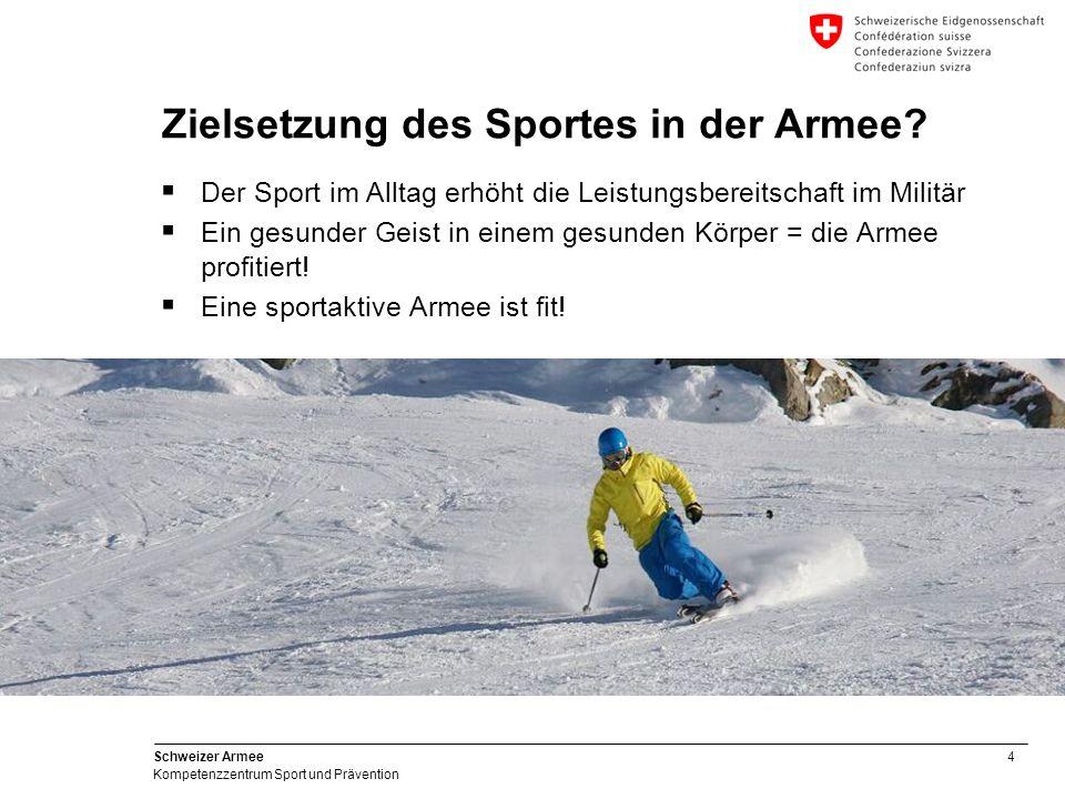 4 Schweizer Armee Kompetenzzentrum Sport und Prävention Zielsetzung des Sportes in der Armee? Der Sport im Alltag erhöht die Leistungsbereitschaft im