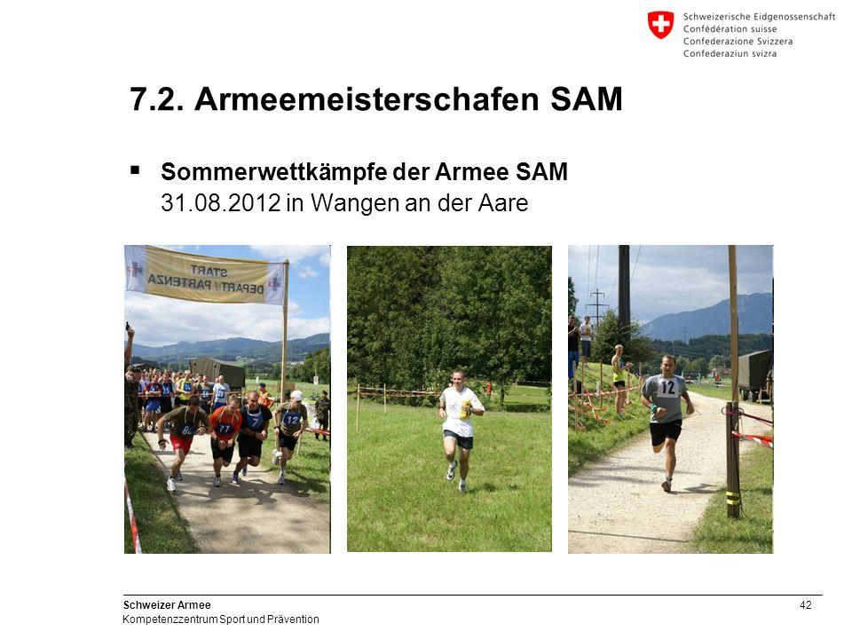 42 Schweizer Armee Kompetenzzentrum Sport und Prävention 7.2. Armeemeisterschafen SAM Sommerwettkämpfe der Armee SAM 31.08.2012 in Wangen an der Aare