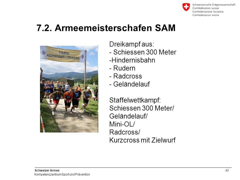 43 Schweizer Armee Kompetenzzentrum Sport und Prävention 7.2. Armeemeisterschafen SAM Dreikampf aus: - Schiessen 300 Meter -Hindernisbahn - Rudern - R