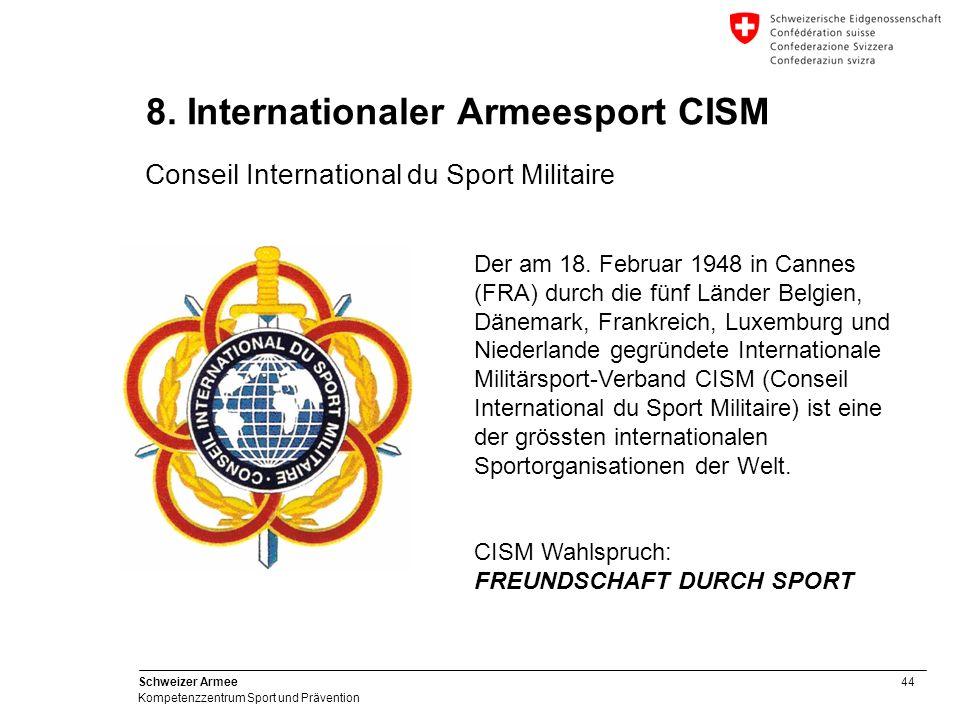 44 Schweizer Armee Kompetenzzentrum Sport und Prävention 8. Internationaler Armeesport CISM Conseil International du Sport Militaire Der am 18. Februa