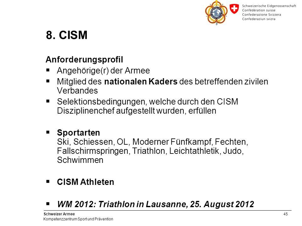 45 Schweizer Armee Kompetenzzentrum Sport und Prävention 8. CISM Anforderungsprofil Angehörige(r) der Armee Mitglied des nationalen Kaders des betreff