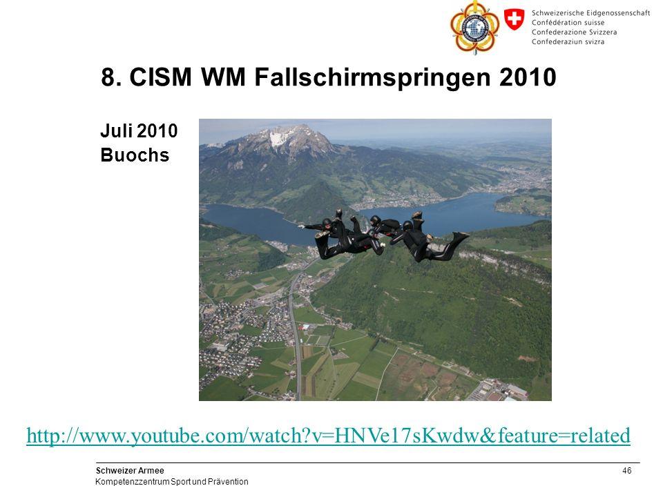 46 Schweizer Armee Kompetenzzentrum Sport und Prävention 8. CISM WM Fallschirmspringen 2010 Juli 2010 Buochs http://www.youtube.com/watch?v=HNVe17sKwd