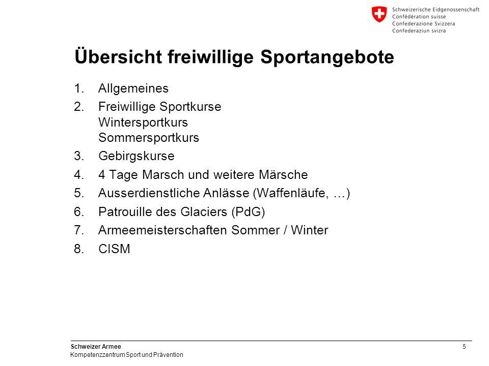 5 Schweizer Armee Kompetenzzentrum Sport und Prävention Übersicht freiwillige Sportangebote 1.Allgemeines 2.Freiwillige Sportkurse Wintersportkurs Som