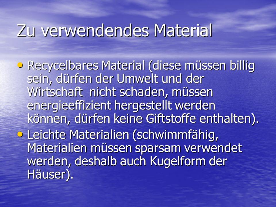 Zu verwendendes Material Recycelbares Material (diese müssen billig sein, dürfen der Umwelt und der Wirtschaft nicht schaden, müssen energieeffizient