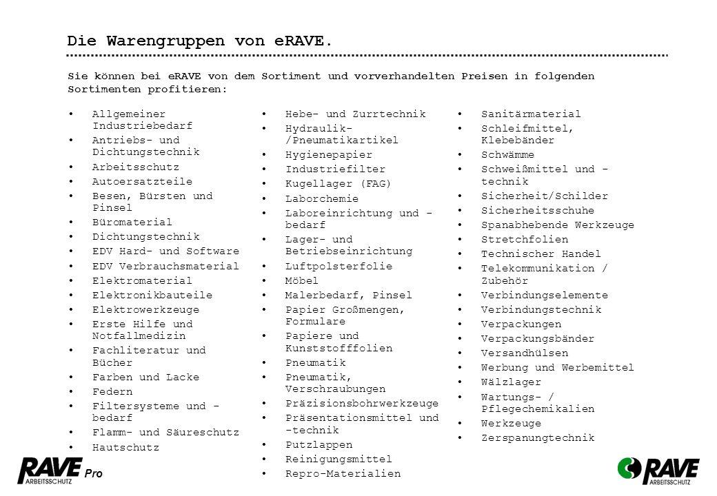 Pro Die Warengruppen von eRAVE. Allgemeiner Industriebedarf Antriebs- und Dichtungstechnik Arbeitsschutz Autoersatzteile Besen, Bürsten und Pinsel Bür