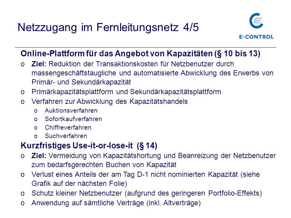 Netzzugang im Fernleitungsnetz 4/5 Online-Plattform für das Angebot von Kapazitäten (§ 10 bis 13) oZiel: Reduktion der Transaktionskosten für Netzbenu