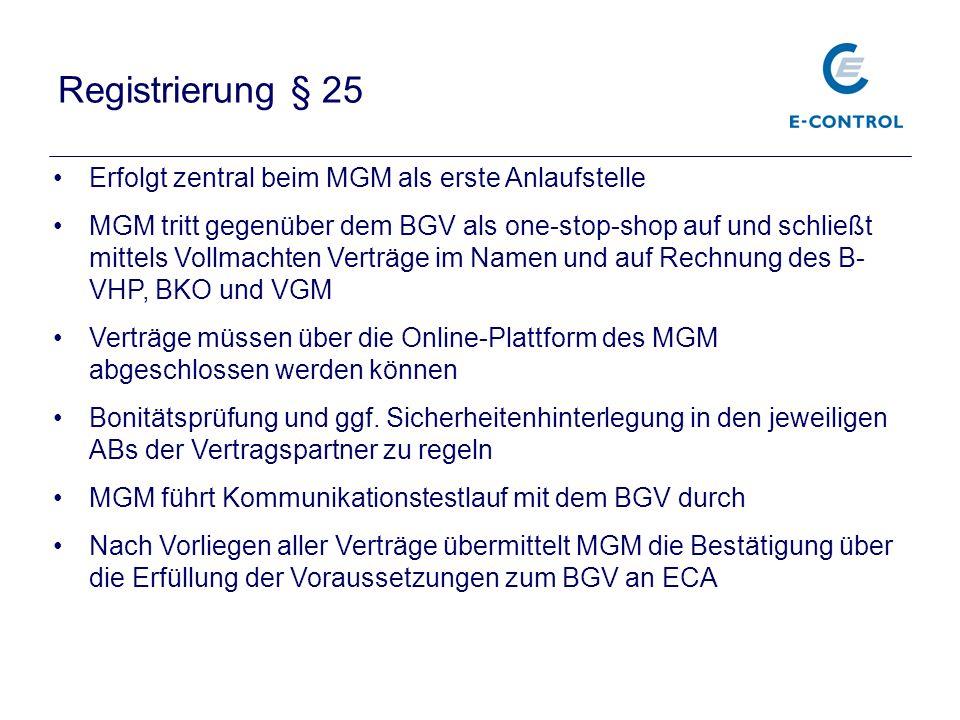 Registrierung § 25 Erfolgt zentral beim MGM als erste Anlaufstelle MGM tritt gegenüber dem BGV als one-stop-shop auf und schließt mittels Vollmachten