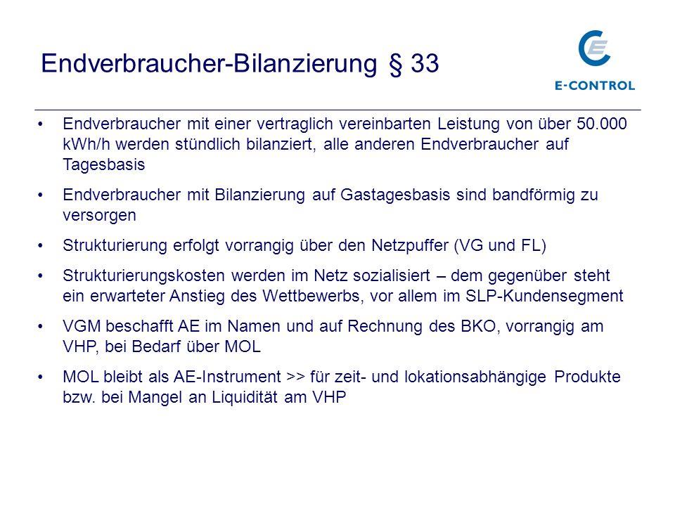Endverbraucher-Bilanzierung § 33 Endverbraucher mit einer vertraglich vereinbarten Leistung von über 50.000 kWh/h werden stündlich bilanziert, alle an